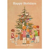 Happy Holidays Vintage Drawing Card, Giant Size By Moonpig