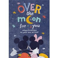 Cute Minnie & Mickey - New Baby Card, Standard Size By Moonpig