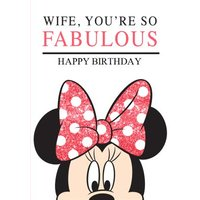 Disney Minnie Mouse Wife You're So Fabulous Birthday Card, Large Size By Moonpig