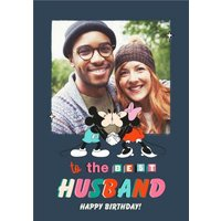 Disney Mickey Mouse Best Husband Photo Upload Birthday Card, Giant Size By Moonpig