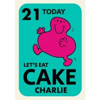 Mr Men Little Miss Greedy Lets Eat Cake 21 Today Birthday Card , Giant Size By Moonpig