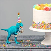 'Colourful Dinosaur Happy Birthday Cake With Sprinkles Card, Square Card Size By Moonpig