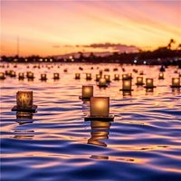 Photographic Lanterns On River Diwali Just A Note Card, Large Square Card Size By Moonpig