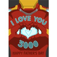 Marvel Comics Iron Man - I Love You 3000 Father's Day Card