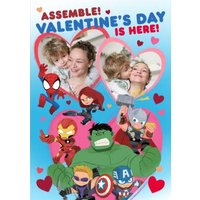 Marvel Comics Assemble Valentine's Day Is Here Photo Upload Card, Standard Size By Moonpig