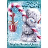 Me To You Tatty Teddy Candy Cane Personalised Christmas Card, Standard Size By Moonpig