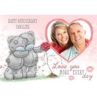 Me To You Tatty Teddy I Love More Every Day Photo Anniversary Card, Standard Size By Moonpig