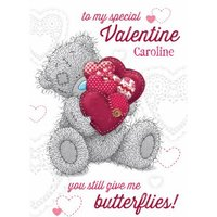 Tatty Teddy With Hearts You Give Me Butterflies Happy Valentine's Day Card, Standard Size By Moonpig