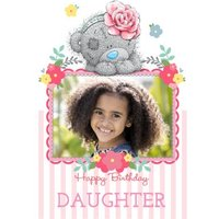 Tatty Teddy With Rose Headband Personalised Photo Upload Birthday Card For Daughter, Large Size By M