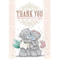 Tatty Teddy Bride And Groom Personalised Thank You Wedding Card, Giant Size By Moonpig