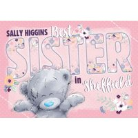 Me To You Tatty Teddy Best Sister Personalised Card, Standard Size By Moonpig