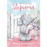 Cute Tatty Teddy Birthday Card - Lovely Stepmum Photo Upload, Large Size By Moonpig