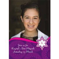 Purple And Pink Personalised Bar Mitzvah Invitation Card, Giant Size By Moonpig
