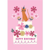 Happy Birthday Cat And Cake Floral Card, Large Size By Moonpig