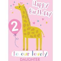 Cute Giraffe Illustration Personalised Daughter Birthday Card, Giant Size By Moonpig