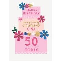 Three Tiered Cake Girlfriend 50th Birthday Card, Giant Size By Moonpig