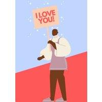 Modern Illustration Black Man Holding I Love You Sign Card, Giant Size By Moonpig