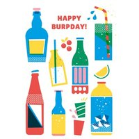 Happy Birthday Colourful Drink Illustrations Card, Large Size By Moonpig