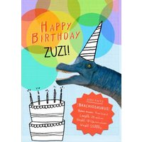 Party Dino And Cake Personalised Happy Birthday Card, Large Size By Moonpig