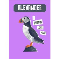 Natural History Museum I Puffin Love You Valentine's Day Card, Large Size By Moonpig