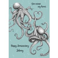 You Octopi My Heart Illustrated Octopus Happy Anniversary Card, Giant Size By Moonpig