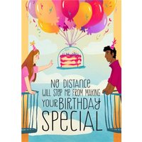 No Distance Will Stop Me Illustrated Trendy Birthday Card, Large Size By Moonpig