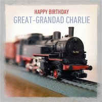 Personalised Happy Birthday Great Grandad Model Steam Train Card, Large Square Card Size By Moonpig