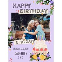 Decorated Cake Illustration Photo Upload Text Editable Daughter Birthday Card, Large Size By Moonpig