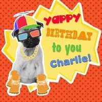 Yappy Birthday To You Pup Personalised Happy Card, Square Card Size By Moonpig
