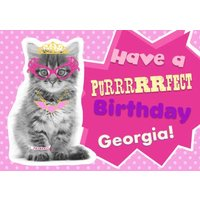 Funky Kitty Personalised Happy Birthday Card, Large Size By Moonpig