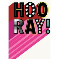 Retro Typographic Design Hooray Card, Standard Size By Moonpig