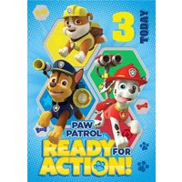 Paw Patrol 3rd Birthday Card, Large Size By Moonpig