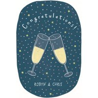 Champagne Glass Illustration Personalised Congrats Card, Large Size By Moonpig
