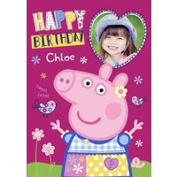 Peppa Pig Personalised Name And Photo Birthday Card, Giant Size By Moonpig