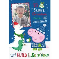 Peppa Pig Snow Dino Photo Upload Christmas Card, Standard Size By Moonpig