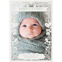Paper Frames Photo Upload Will You Be My Godparents Christening Card, Standard Size By Moonpig