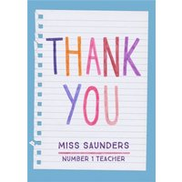 Colourful Lettering Personalised Thank You Teacher Card, Standard Size By Moonpig