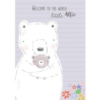Cute Parent And Baby Bear Welcome To The World New Card, Large Size By Moonpig