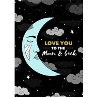 Illustration Love You To The Moon And Back Card, Large Size By Moonpig