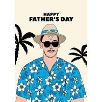 Happy Fathers Day Hat And Flowery Shirt Card, Large Size By Moonpig