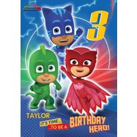 PJ Masks Birthday Card - Age 3 It's Time To Be A Hero!, Standard Size By Moonpig