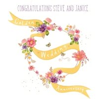 Flowing Banner Personalised Golden Wedding Anniversary Card