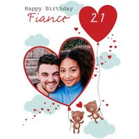 Two Bears Soaring Through The Clouds Illustration Personalise Photo Upload Fiance Birthday Card