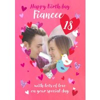 Decorative Hearts And Two Love Birds Illustration Personalise Photo Upload Fiancee Birthday Card