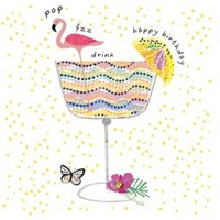 Flamingo And Cocktail Happy Birthday Card, Square Card Size By Moonpig
