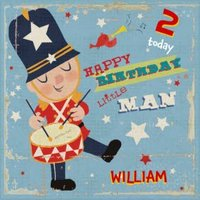Little Man Drummer Personalised Happy 2nd Birthday Card, Square Card Size By Moonpig