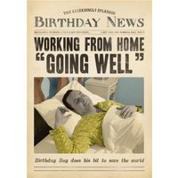 Working From Home Going Well Funny Card, Giant Size By Moonpig