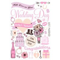 Illustrated Personalised Wedding Day Card, Large Size By Moonpig