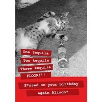 One Tequila, Two Three Tequila Birthday Card, Large Size By Moonpig