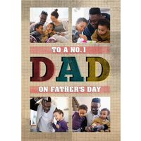 Grid Background To A Number One Dad Father's Day Multi-Photo Card, Giant Size By Moonpig
